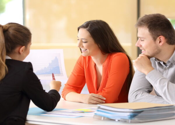Businesspeople talking during an audit